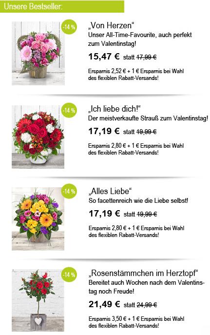 Bestseller Blumen zum Valentinstag